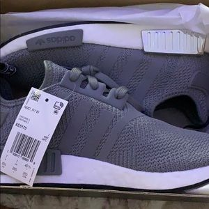 Adidas grey and white NMD_R1 Women's size 7